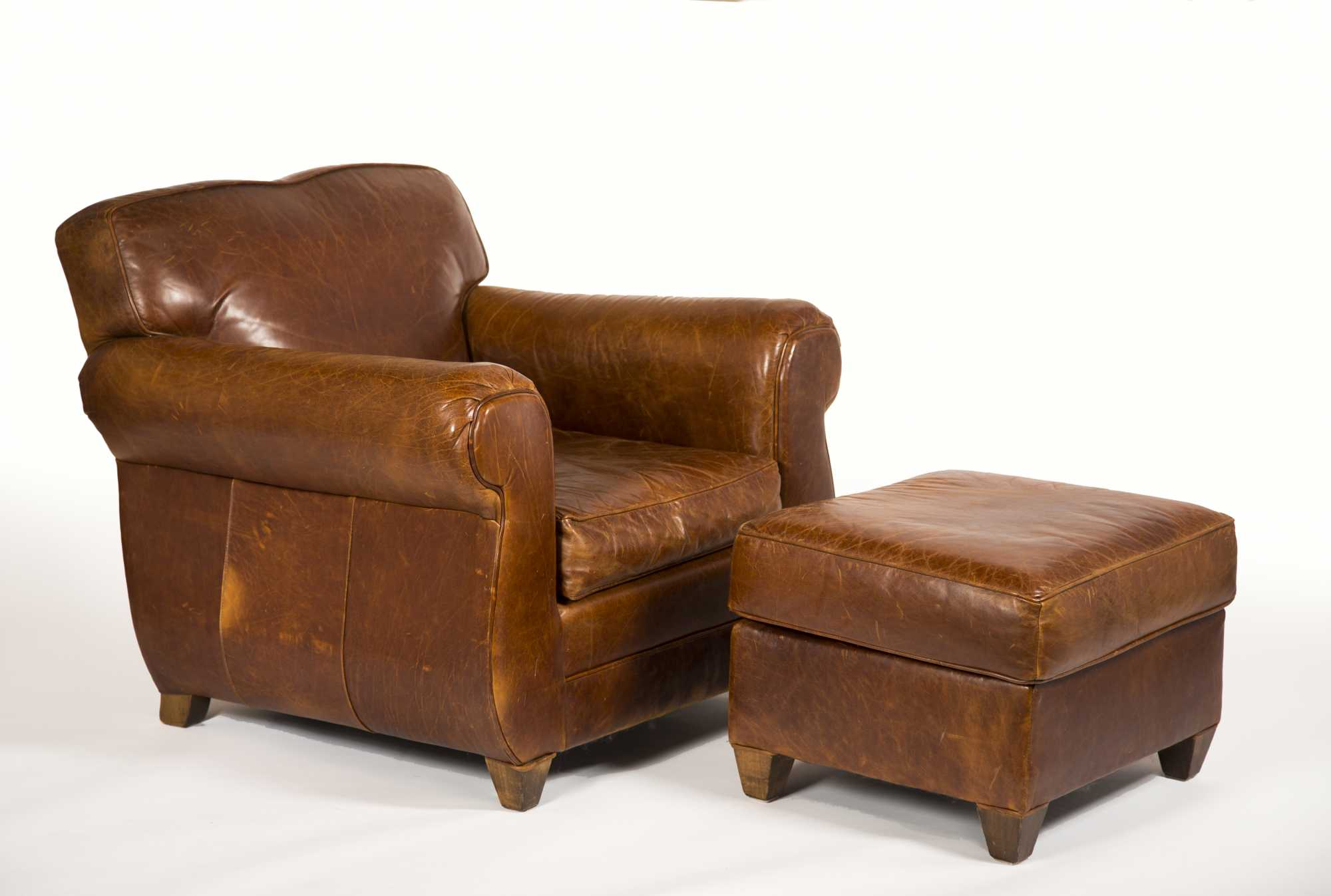 Leather Armchair and Ottoman made by  Mitchell Gold  especially for  Restoration Hardware   sc 1 st  The Cobbs Auctioneers & Leather Armchair and Ottoman made by