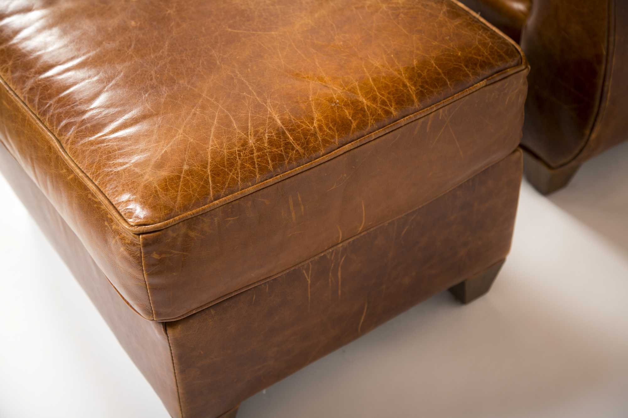"Leather Armchair and Ottoman, made by ""Mitchell Gold ..."