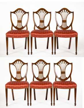 Set of Six Hepplewhite Style Dining Chairs