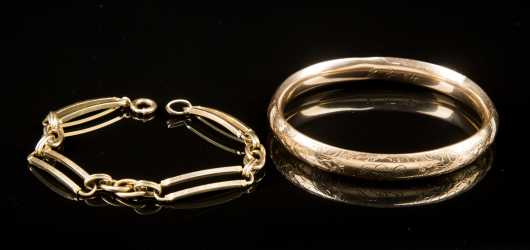 Two Antique Gold Bracelets