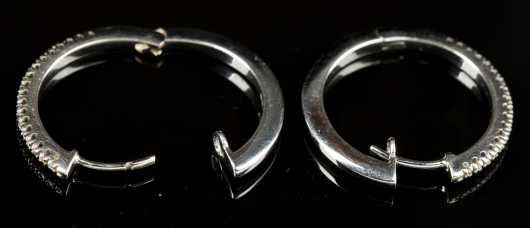 White 18kt. Gold and Diamond Hoop Earrings
