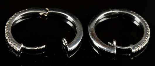 White 18kt. Gold and Diamond Hoop Earrings