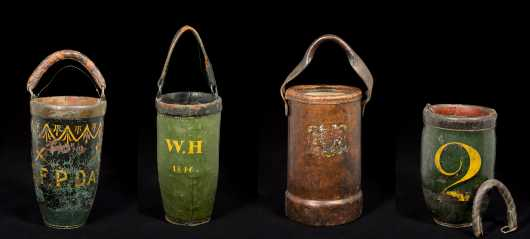 Four Miscellaneous Leather Fire Buckets