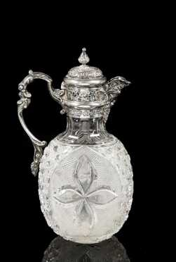 Late 19thC London Silver and Cut Glass Pitcher
