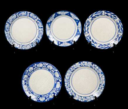 "Five ""Dedham"" Dinner Plates"