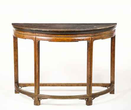 Chinese Hardwood Demilune Console Table