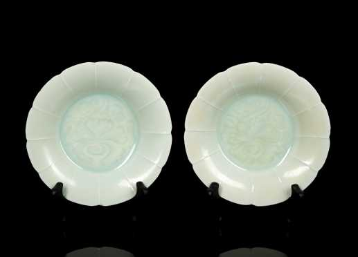 Pair of Song Dynasty Lotus Form Dishes