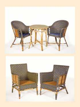 Lot of Five Pieces of Rattan Furniture