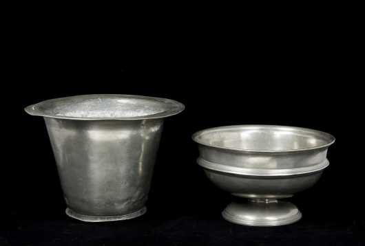 Pewter Compote and Planter