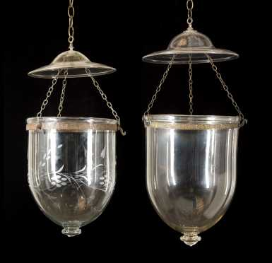 Two Similar Blown Glass Hanging Lights