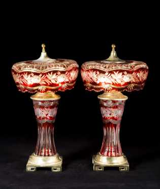 "Pair of ""Dresden"" Ruby Cut to Clear Glass Lamps"