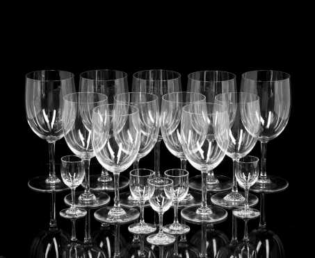 Sixteen Baccarat Crystal Glasses