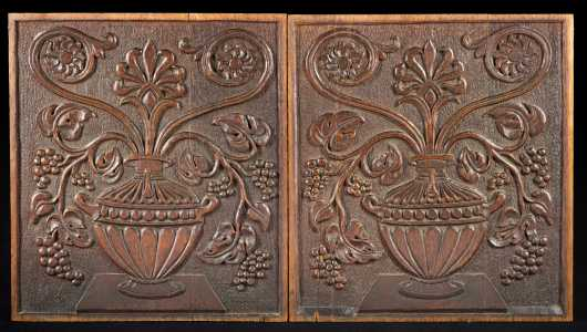 Pair of Floral Carved Wooden Panels