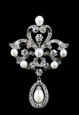 Diamond, Baroque Pearl and Gold Pendant Brooch