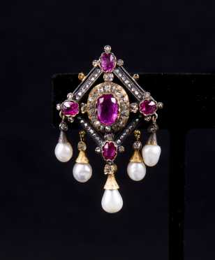 Red Spinel, Diamond and Pearl Brooch