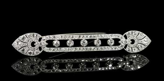 Platinum Diamond Bar Brooch