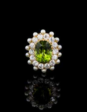 Peridot, Diamond, Cultured Pearl Brooch Pendant