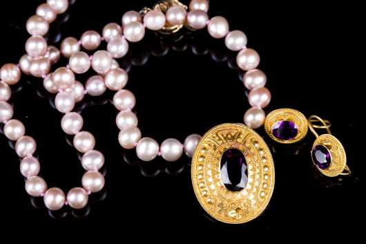 Pearl, Amethyst and 22kt, Marked Necklace and Earrings
