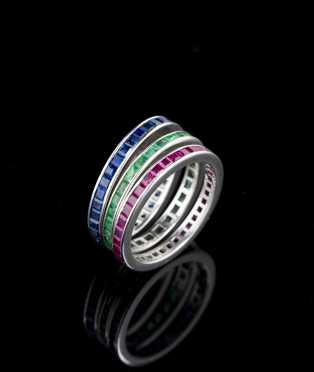 Three Platinum Eternity Bands, Ruby, Sapphire and Emerald
