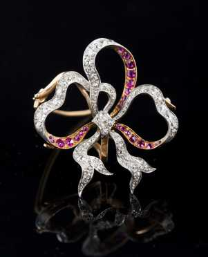 Diamond and Ruby Ribbon Pendant Brooch