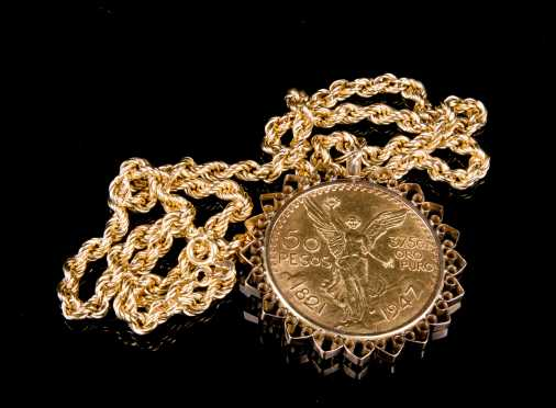 Yellow Gold 50 Pesos Necklace