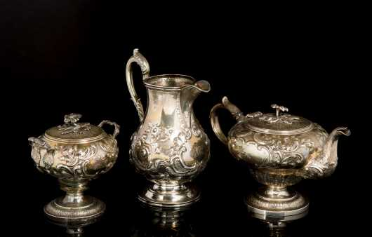 Boston Coin Silver Pitcher and Partial Tea Set