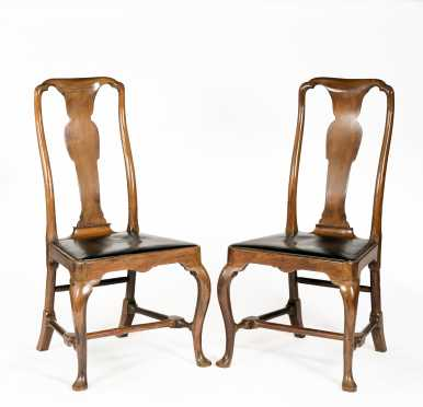 Pair of English Walnut Queen Anne Side Chairs