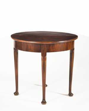 English Queen Anne Demilune Mahogany Card Table