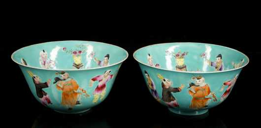 Pair of Chinese Figural Turquoise Blue Bowls