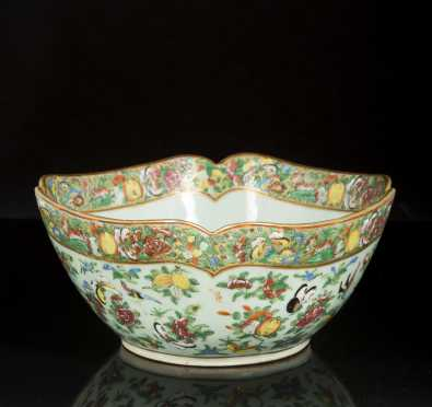 Chinese Bird and Butterfly Celedon Salad Bowl