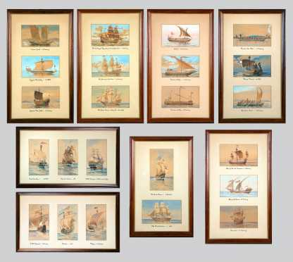 Twenty-Three Framed Watercolors of Early Sailing Ships