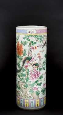 Chinese Export Bird Decorated Umbrella Stand