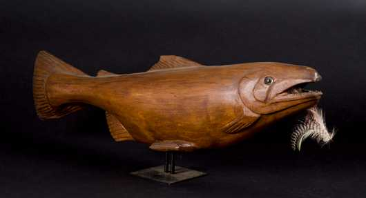 Signed Wooden Salmon