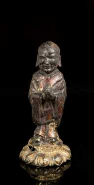 Chinese Gilded Bronze Standing Monk