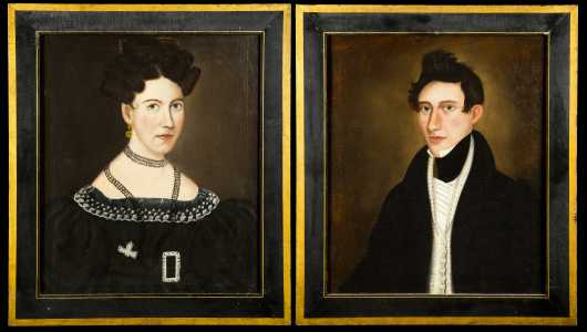 Pair of Primitive American Portraits