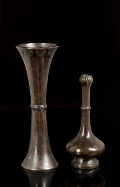 Two 17th/18thC Chinese Bronze Vases