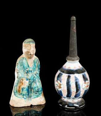 Early Chinese Clay Figure and Porcelain Water Bottle **AVAILABLE FOR $200.00**