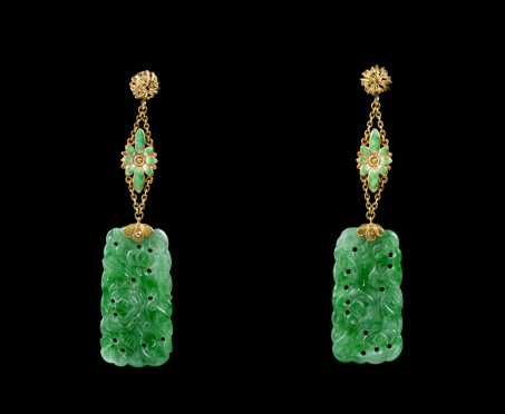 High Karat Yellow Gold, Enamel, and Jade Drop Earring
