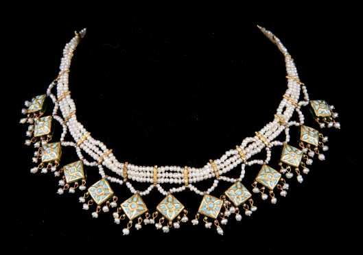 Seed Pearl, Gold, Enamel Choker