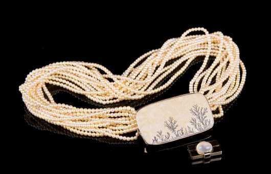 Multi Strand Golden Pearl with Alternative Clasp