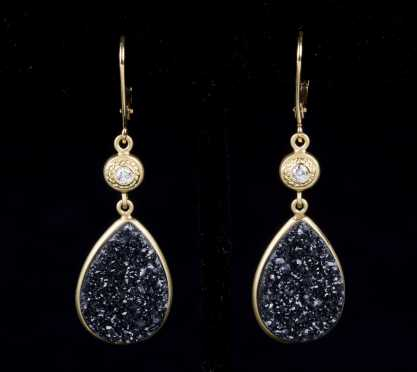 18kt Druzy and Diamond Ear Drops