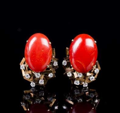 14kt Yellow Gold Diamond and Coral Ear Clips