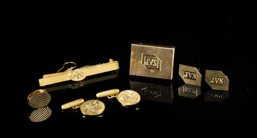 Lot of Mens 18kt Accessories and 14kt Tiffany Tie Clip
