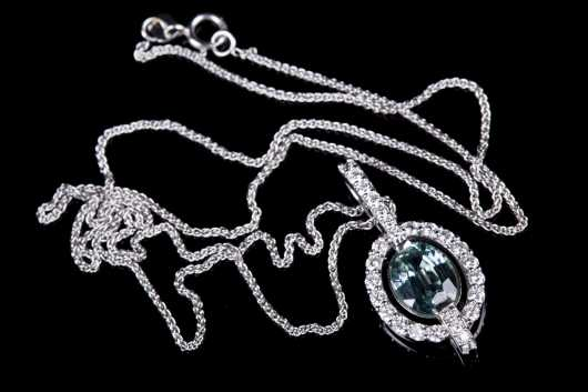Topaz, Diamond and White Gold Necklace