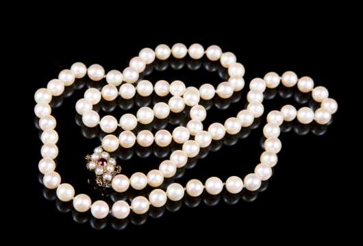 Long Strand of Pearls with Garnet and 9ct Clasp