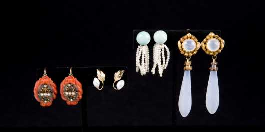 Lot of Four pairs Gold Earrings with Pearl, Coral, Turquoise and Hardstone