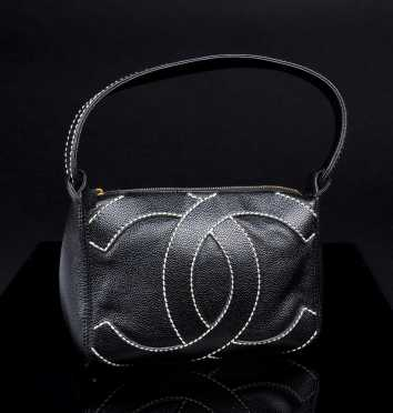 Chanel Black Pebbled Leather Hobo Bag