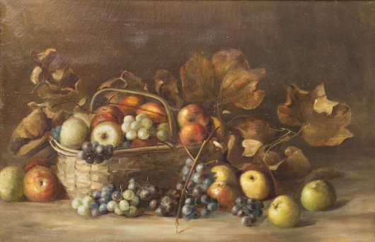 American Still Life Painting of a Fruit Basket