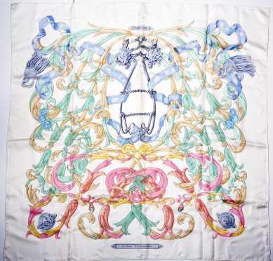 "Hermes Silk Scarf, ""Le Mons 'A La Conetable"""