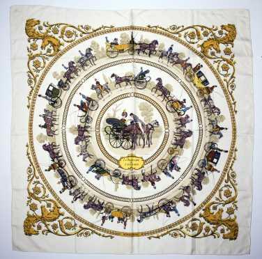"Hermes Silk Scarf ""La Promenade De Longchamps"""